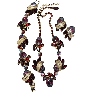 """Vintage 1960's Signed Weiss """"RARE REDS"""" Rhinestone Necklace,Bracelet & Earrings Set ~A MUST SEE!!"""