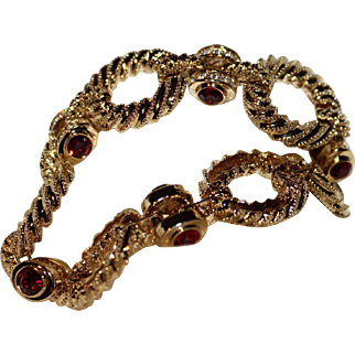 """Vintage Camrose & Kross """"Jacqueline Bouvier Kennedy """"  Rope Link with Red and Clear Crystals Bracelet """"Orig. Box/COA"""""""