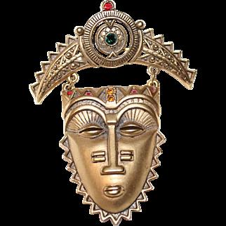 Vintage Signed Avon Large  Articulating Tribal Mask Brooch