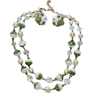 """Vintage Signed """"VENDOME"""" White,Green Molded Glass,Crystals,Faux Baroque Pearl Necklace & Earring set"""