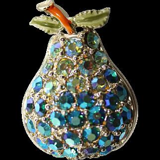 "Vintage 1960's  Rhinestone and Enamel ""Pear Shape"" Brooch/Pin"