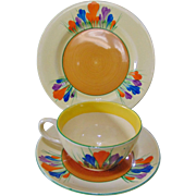 Early 1930's Clarice Cliff Tea Cup, Saucer & Side Plate - Crocus Design