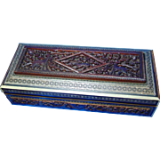 Anglo-Indian Carved Rosewood / Sandalwood Box with Intricate Mosiac Detailing - Circa 1850