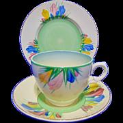 Clarice Cliff 'Spring Crocus' Tea Cup, Saucer & Side Plate Trio - Circa 1935