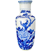 19th Century Kangxi Style Chinese Blue & White Porcelain Vase