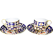 Royal Crown Derby Pattern 245 Imari Bone China Coffee Cups & Saucers – Made 1903 - Two Available