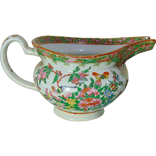 Finely detailed Chinese 'Canton' Famille Rose Gravy Boat - 19th Century