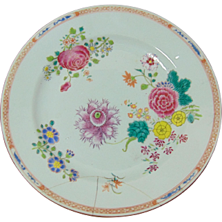 18th Century Chinese Famille Rose Export Plate