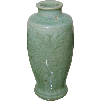 Authentic Ming Dynasty (1368 - 1644) Celadon Vase - Incised With Foliage