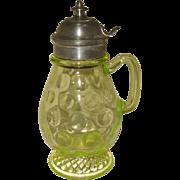 Antique Vaseline Glass EAPG Syrup Jug