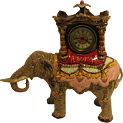Ansonia Clock in Figural Majolica Elephant.