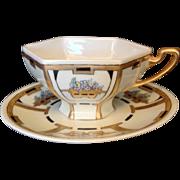 Elegant Porcelain Cup and Saucer, Marked B & C, France