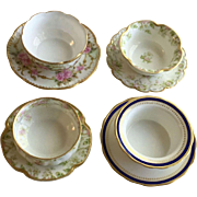Four Sets of Ramekin Cups and Plates.  All Limoges,  France.  Each Set has different Pattern