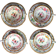 Four Sets Minton Bone China Bouillon Cup and Saucers, Chinese Tree Pattern