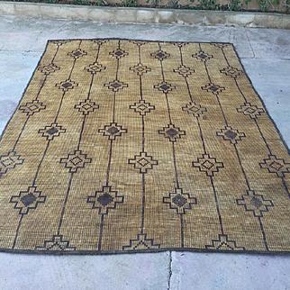 Large Mat Nomad & Vintage Mauritanian Sahara Straw Mat, 10x13 Vintage Rug Beni Ourain tapis berber, alfombras berberes, berber teppish