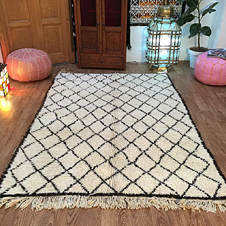 Moroccan Area Rugs Handwoven Berber Carpet Vintage Beni Ourain Rug 5x6 oriental rugs and carpets Kelim Rug Old beni ourain rug  30~ years old
