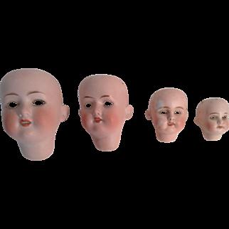 4 Bisque German Doll Socket Heads Missing Eyes