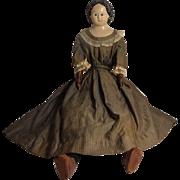 "29"" Greiner Doll 1860's - Partial Label"