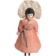 "1880's  9"" Black Hair China Head Doll"