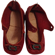 Very Nice Early 1900 Red Leather Doll Shoes