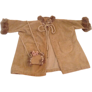 Very Nice Beige Corduroy Coat And Muff For A Composition Doll