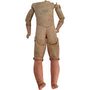 Early 1900 Kid Body Only For A Bisque Shoulder Head Doll
