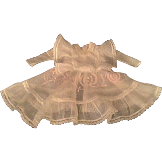 Early 1900 White Batiste Doll Dress - Leg Of Mutton Sleeves