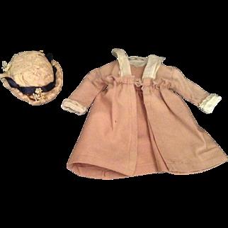 """10"""" Beige Wool Blend Doll Coat - 1920's"""