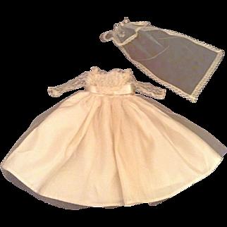 "Nice 13-1/2"" 1940's-1950's Factory Wedding Dress And Veil"