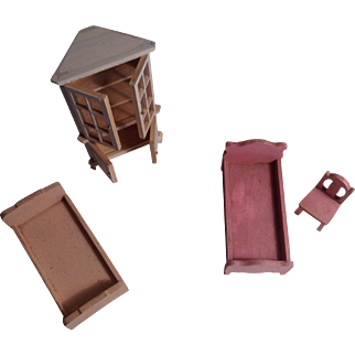 Wood Doll House Beds, Cupboard And Chair