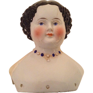 1870's Black Hair China Head Only - Molded Necklace - Hertel, Schwab & Co.,t