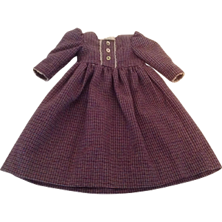 """Lovely Vintage 17"""" Wool Plaid Doll Dress With Tiny Lace Trim"""