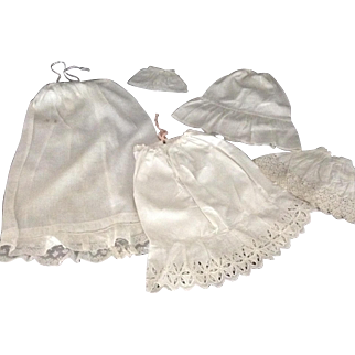 5 Wonderful Vintage White Cotton Doll Petticoats