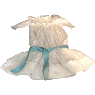 "Beautiful 20"" Drop Waist White Cotton Dress With Lace Trim"