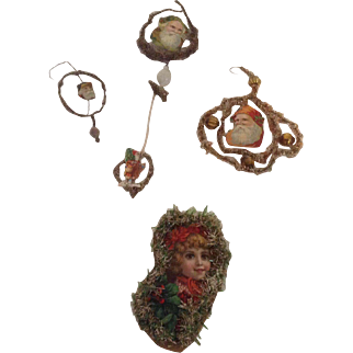 5 1890's Paper Christmas Tree Ornaments With Trim