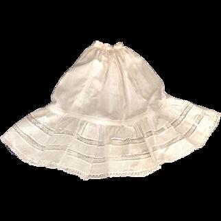 "BEAUTIFUL 17-1/2"" White Batiste Doll Petticoat with Lace Ruffles"