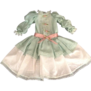 "Pretty 12-1/2"" Vintage Pale Green And White Doll Dress"