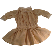 "Lovely 13"" Vintage Silk Blend Doll Dress With Lace Trim"