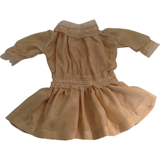 """Lovely 13"""" Vintage Silk Blend Doll Dress With Lace Trim"""