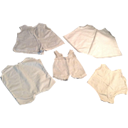 5 White Cotton Doll 1-Piece Under Garments
