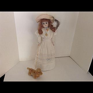 "FABULOUS 20"" Alt, Beck & Gottschalk #639 Turned Bisque Head Doll With Her Little Dog"