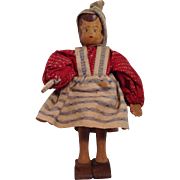 "Very Nice 4-1/2"" Wood Jointed Doll - Red Tag Sale Item"