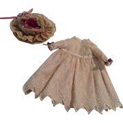 """Vintage 8-1/2"""" Lace and Cotton Doll Dress With Charming Hat"""