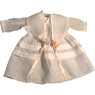 "Lovely 12"" White Batiste Doll Dress With Lace Trim"