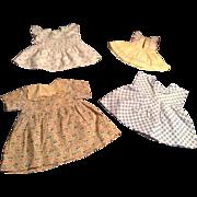 4 Vintage Doll Dresses For 1930's-40's Composition Dolls