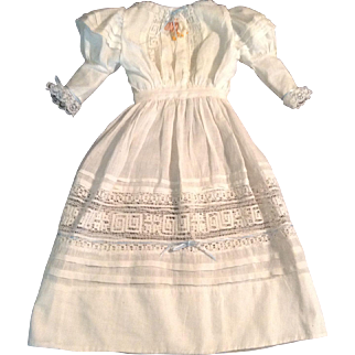 """Beautiful 17"""" Batiste Doll Dress With Leg O' Mutton Sleeves"""