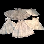 5 Very Nice Vintage Doll Slips