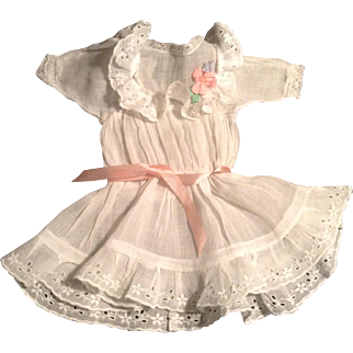 "Darling Vintage 10"" White Lawn Doll Dress With Eyelet Trim"