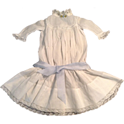 "Beautiful 17"" White Cotton Batiste Drop-Waist Doll Dress With Lace Trim"