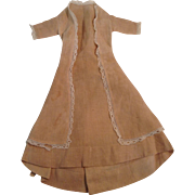 "Lovely 1890's 14"" Day Dress With Lace Trim For A Fashion Doll"